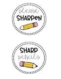 FREE Pencil Bin labels