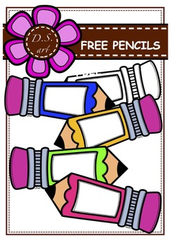 FREE Pencils Digital Clipart (color and black&white)nd bla