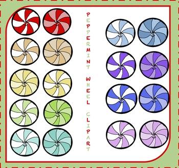FREE Peppermint Wheel Clipart / Peppermint Clipart {Christmas Clipart} {FREEBIE}