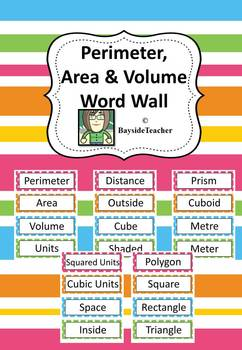FREE Perimeter, Area & Volume Word Wall - 20 words