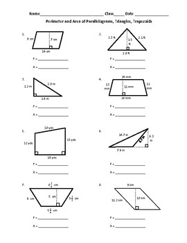 FREE Perimeter and Area of Parallelograms, Triangles, and Trapezoids