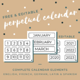 FREE Perpetual Calendar - English, Spanish, French, German