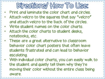 FREE Personal/ Individual PBIS Color Charts