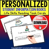 """FREE Personalized Student Information Task Cards """"Task Box Filler"""" for Autism"""