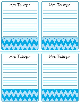 FREE Personalized Teacher Notepad Pages--Chevron Print