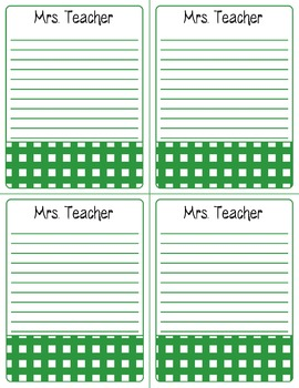 FREE Personalized Teacher Notepad Pages--Gingham Print