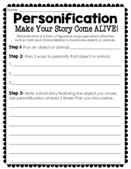FREE Personification Writing Activity: Make Your Story Come ALIVE!