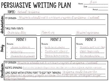 FREE Persuasive Writing Plan