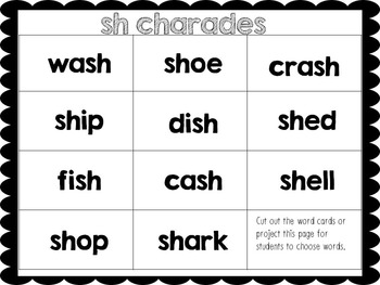FREE Phonics Charades for digraph sh