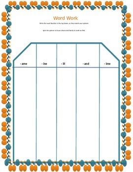 FREE Phonics Spinner Template
