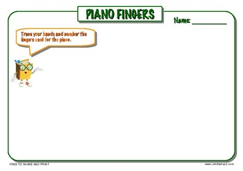 FREE Piano Fingers 3 page activity pack.