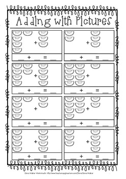 Picture Addition - (Add to 10)  Worksheets / Printables for Pre K, Kindergarten.