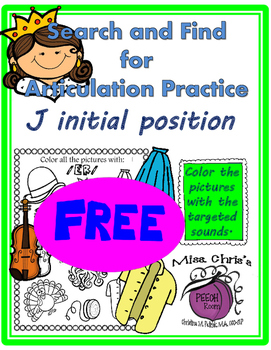 FREE - - Picture Find for Speech Therapy /J/  /d3/  initial FREE!!