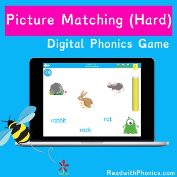 FREE! Online Picture Matching Phonics Game (Hard) | Word Comprehension | Digital