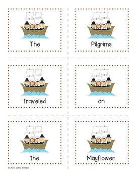 Pilgrims Unit - Sentence Scramble for Kindergarten and First Grade