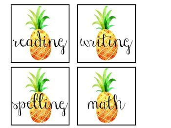 FREE Pineapple Themed Subject Labels