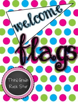 *FREE* Pink, Green, & Blue Welcome Flags
