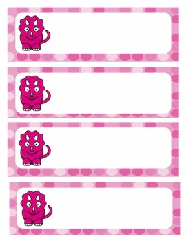 [FREE] Pink and Blue Dinosaur Name Tag Labels
