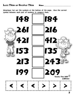 FREE!  Pirate Cut-and-Glue Math for Second Grade