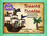 FREE!!  Pirates: Math Center with Missing Addends