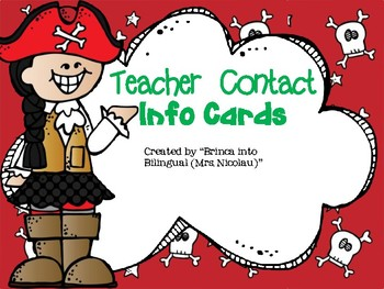 FREE Pirates Theme Teacher Contact Info Card - EDITABLE