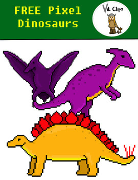 FREE Pixel Dinosaur Clip Art {Video Game Style Art}