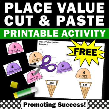 FREE Place Value Cut and Paste Worksheets, 2nd Grade Math Review Packet