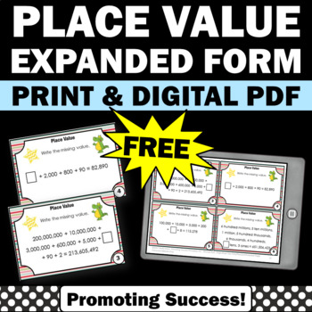Free Place Value Expanded Form Standard Form Place Value Task Cards