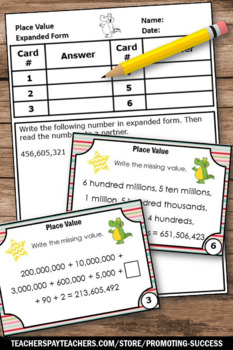 FREE Place Value Expanded Form Standard Form, Place Value Task Cards
