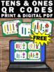 FREE Place Value Task Cards, Tens and Ones Games, QR Codes Math Activities