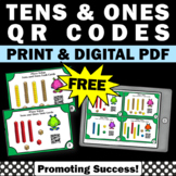 FREE Place Value Tens and Ones Task Cards, Math QR Codes, Base Ten Blocks