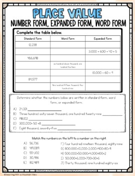 FREE Place Value Quiz or Review 1,000-1,000,000 { Common Core & Differentiated }