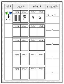 FREE Place Value Roll It, Draw It, Write It, Expand It Practice Page
