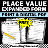 FREE Place Value Worksheet Standard and Expanded Form, 5th Grade Math Review