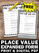 FREE Place Value Worksheets 5th Grade Standard Form and Expanded Form