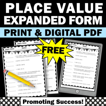 FREE Download Place Value Worksheet for 4th 5th Grade Common Core Math