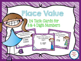 FREE Place Value Task Cards for 3 & 4 Digit Numbers