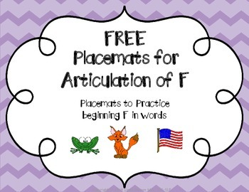 FREE Placemats for Articulation of F