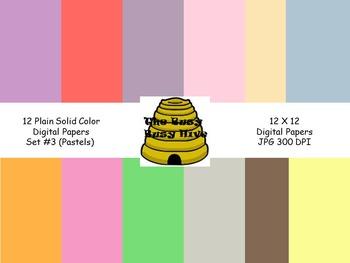 FREE Plain Digital Papers Set 3 Pastels{12 backgrounds for