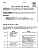 FREE Plant Structures and Function (Internal and External) Bundle