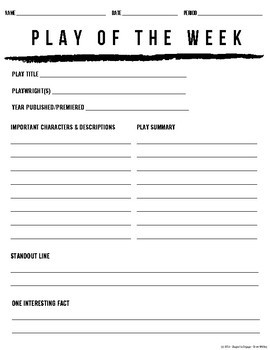 FREE Play of the Week Activity