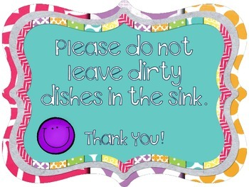 FREE Please Don't Leave Dishes in the Sink Sign