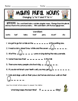 FREE Plural Nouns- Plant a Peck of Plurals! - Common Core