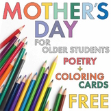 FREE Poetry Lesson Mother's Day Card + Poetry for Older Students/Teens, Sub Plan