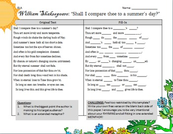 """Poetry Mad Lib FREE: Shakespeare's """"Shall I Compare Thee to a Summer's Day?"""""""
