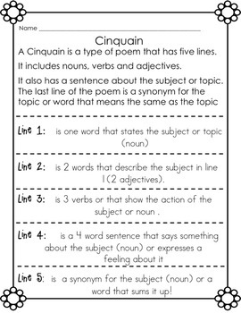 FREE Poetry Writing Frames for Cinquain, Haiku and Diamante Poetry Grades 1-4