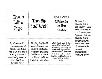 FREE!! Point of View Flipbook using The True Story of the 3 Little Pigs