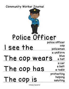 FREE Police Officer Differentiated Journal Writing for Special Education