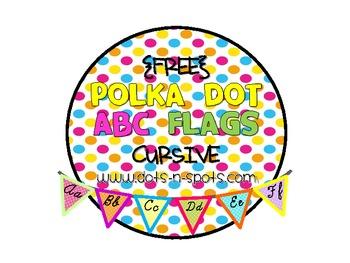 {FREE} Polka Dot ABC Flags in Cursive