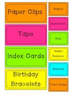 FREE Pop of Color Teacher Toolbox Labels